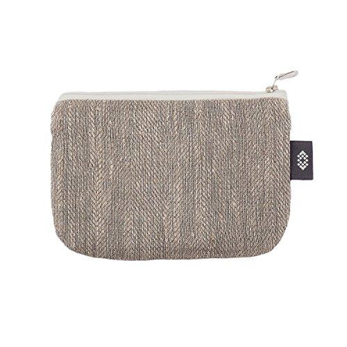 Kleine Graue Schminktasche - Doppellagige 100% Leinen - Kleine Leinwand Reißverschlusstasche -...