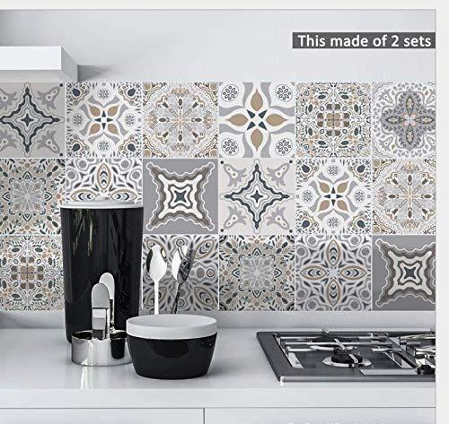 LZY Stick on Wall Fliese Stick on Wall Fliese Opaque Pvc Kombination Tapete Marokkanischen Stil Schlafzimmer Küche Dekoration 10Pcs X 15Cm X 15Cm Fliesenaufkleber (On Vinyl-fliesen Stick)