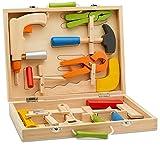 Top Race 12 Stück Werkzeugkasten, massivholz Werkzeugkasten mit bunten Hölzernen Werkzeugen, Bau Spielzeug Rollenspiel Set TR-W300