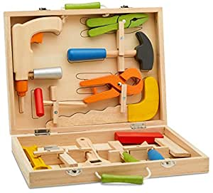 Top Race 12 Piece Tool Box, Solid Wood Tool Box with Colorful Wooden Tools, Construction Toy Role Play Set TR-W300