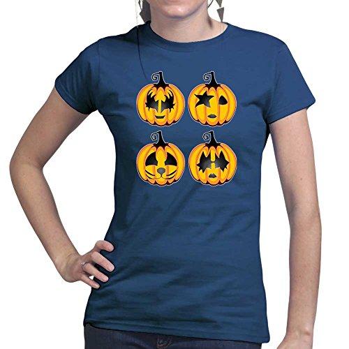 Womens Halloween Rock Pumpkin Scary Costume Ladies T Shirt (Tee, Top) Navy Blue