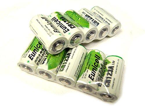 Lot de 10 Piles Cr123A 3V Lithium 1500mAh Eunicell