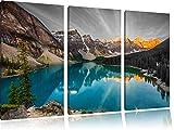 prachtvoller Moraine Lake in Canada schwarz/weiß 3-Teiler Leinwandbild 120x80 Bild auf Leinwand, XXL riesige Bilder fertig gerahmt mit Keilrahmen, Kunstdruck auf Wandbild mit Rahmen, gänstiger als Gemälde oder Ölbild, kein Poster oder Plakat