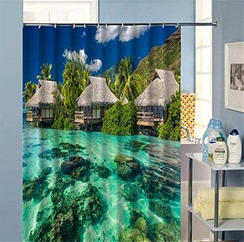 KKLL 3D Views Shower curtain Waterproof Semi shade curtain Washable , 200*180cm