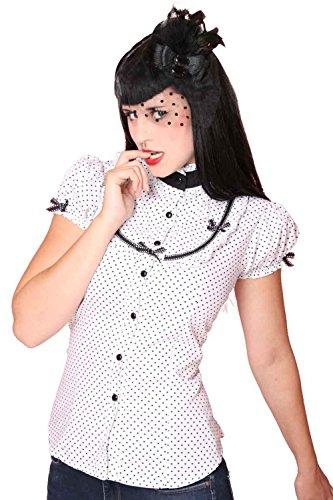 SugarShock 50er retro Polka Dots Stehkragen Bluse Rockabilly Pin Up