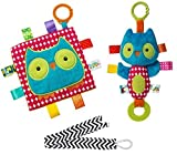 Mary Meyer Taggies Crinkle Me Owl Square and Squeaker Set with Pacifier Clip