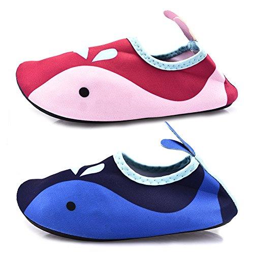Kinder Atmungsaktiv Aqua Schuhe Bequeme rutschfeste und schnelle Trockene AquaSchuhe Strand Schuhe Pool Schuhe Sport Schuhe mit schönen Wal Muster für Unisex Kinder Rosa