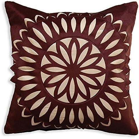 Grande cuscino copre per divano 20pollici 50cm in finta pelle scamosciata ricamo floreale soggiorno salotto camera dei mobili da cucina Panca da giardino sedie da ufficio casa Brown Gold Mandala