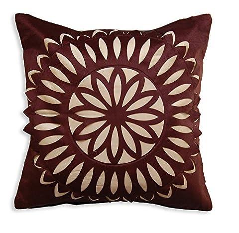 Grande Housse de coussin pour canapé imitation daim Motif floral avec broderie pour salon chambre cuisine banc de jardin chaises de bureau 50cm