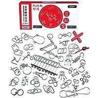 DUS 32 Stücke Knobelspiele Metall Puzzle Logikspiele IQ-Spiele Knifflige Spiele ALS Adventskalender Inhalt