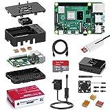 Bqeel Raspberry Pi 4 Model B 2 GB Ultimatives Kit mit 64GB Class10 Micro SD-Karte, 5,1V 3,0A USB-C EIN/Aus-Schaltnetzteil, 3 Premium Kupfer Kühlkörper, Micro HDMI-Kabel, Premium Schwarzes Gehäuse