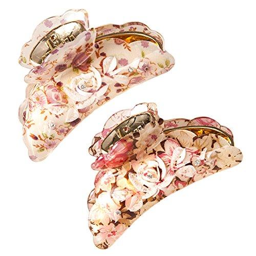 Set Of 2 Clips japonais Headwear Fashion Hair Flower Clips Grip Purple Hair+Rose