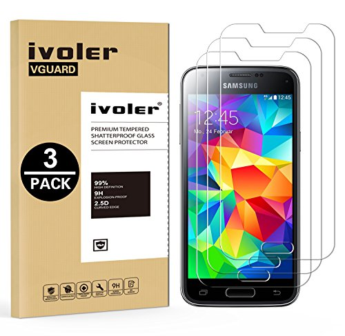 [Lot de 3] Samsung Galaxy S5 Mini Protection écran, iVoler Film Protection d'écran en Verre Trempé Glass Screen Protector Vitre Tempered pour Samsung Galaxy S5 Mini - Dureté 9H, Ultra-mince 0.30 mm, 2.5D Bords Arrondis- Anti-rayure, Anti-traces de Doigts,Haute-réponse, Haute transparence- Garantie de Remplacement de 18 Mois