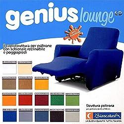 BIANCALUNA Copripoltrona per Poltrone Reclinabili Relax Genius Lounge Copridivano 1 Posto (Sassi)