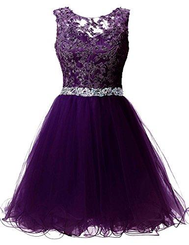 Sarahbridal Damen Tüll Ballkleid Kurz mit Stoffdruck Abendkleider Geblümt Abschlussballkleider SSD361 Violett