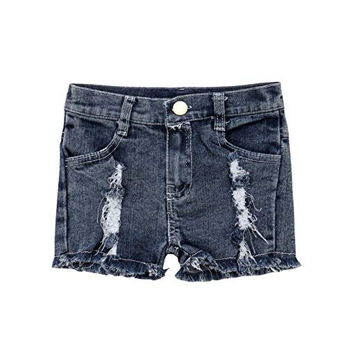 YUNGYE Sommer Kleinkind Kind Mädchen Shorts Stretch Zerrissene Jeans Zerstört Ausgefranste Denim Shorts Hot Pants Kostüm Kinder Mädchen Kleidung (Color : Blue, Kid Size : 4T) 4t Jeans
