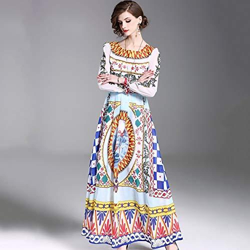 QUNLIANYI maxikleid Spitze Maxikleid Damen Blumendruck Drapiertes Kleid Vintage Langarm Chiffon Patchwork Langes Kleid M -