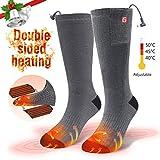 CAVEEN Beheizbare Socken für Damen und Herren, Beheizte Socken mit Akku Baumwolle Heizsocken Beidseitige Beheizung 3 Gänge Fußwärmer Erwärmbare Socken für Zuhause Outdoor Sports(M)
