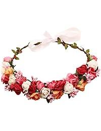 Sanjog Adjustable Wooden Stic Multicolor Floral Tiara Girls/Kids (Small)