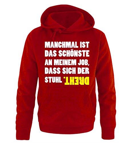 Comedy Shirts - Das schönste an Meinem Job. - Herren Hoodie - Rot/Weiss-Gelb Gr. S
