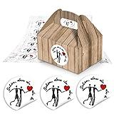 24 kleine Mini-Geschenkkarton Faltschachtel braun natur 9 x 12 x 6 cm ohne Griff + Schön dass Du da bist Aufkleber, 4 cm in schwarz, weiß, rot mit HERZ als Give-away, Mitgebsel