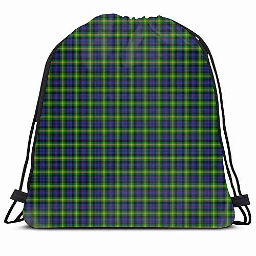 DHNKW Drawstring Backpack String Bag 14x16 Blue Vintage Christmas Tartan Patterned Irish Clan Gordon Esselmont Green Pattern Plaid Ancient Black Celtic Sport Gym Sackpack Hiking Yoga Travel Beach -