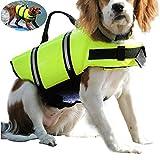 Dog Life Jacken Easy-Fit verstellbare Hundeleine Bademode Life Vest für Hunde Puppy Pet Grün Life Jacken für Hunde mit Reflektierende Gurte und Rescue Griff Hund Lifesaver Weste