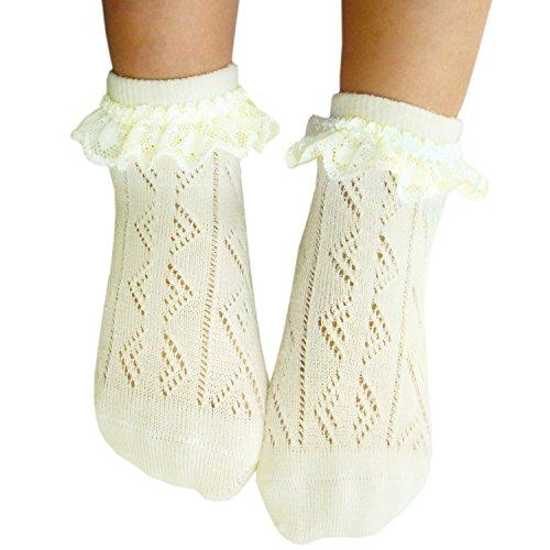 Mädchen Pointelle Spitze Socken nahtlose Zehe für empfindliche Füße (27-30, 2 Paar - Kinder Empfindliche