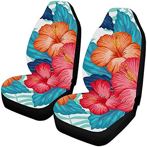 Drew Tours Hawaii-Muster mit exotischen tropischen Pflanzen und Hibiskusblüten Autositzbezüge 2-TLG, Universell für Fahrzeuge