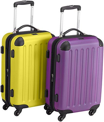 HAUPTSTADTKOFFER - Spree - 2er Koffer-Set Handgepäck Hartschale matt, TSA, 55 cm, 49 Liter, Gelb-Lila
