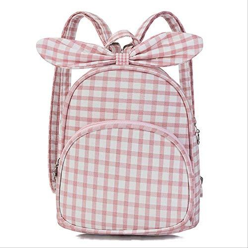 CHZDSB Neue Einfache Nette Gitter-Mädchen-Kleine Doppelte Schulter-Bogen-Tasche Adrette Frauen-Rucksack-Kindergarten-Designer-Schule-Rosa (Bogen-schulter-tasche)