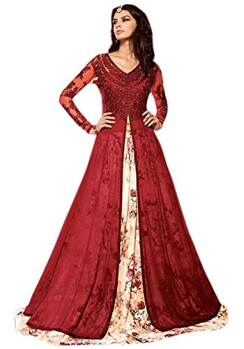 Alka Net & Georgette Fabric Embroidery Indo Western Suit For Women (...