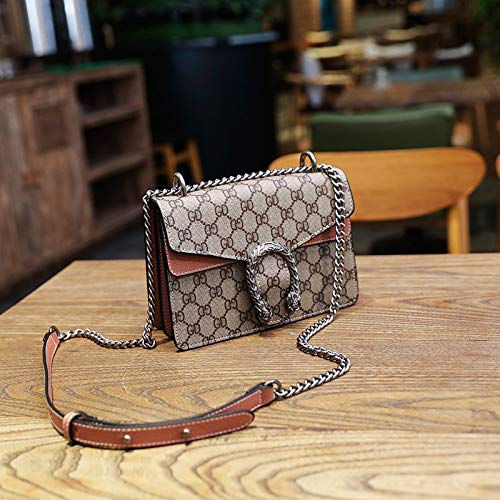 LFGCL Bags womenSmall Square Bag drucktasche urban Leisure Single Shoulder kettentasche, braun - Handtaschen Vuitton