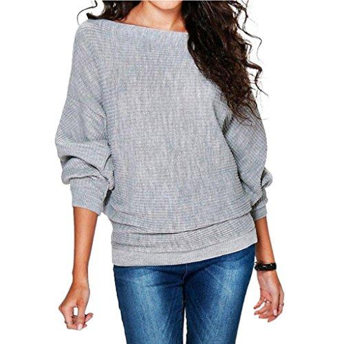 Damen Winter Pullover,JiaMeng Damen Fledermaus Ärmel gestrickt Pullover lose Pullover Pullover Tops Strickwaren (Grau, XL)