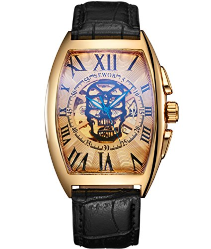 Sewor Luxury Mens Skull Head Automatic Mechanical Wrist Watch Leather Band Glass Coating Blue (Gold)