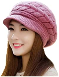 iSweven Stretchable Skull Cap (4017) For Boys Mens Women Girls Woolen Knitted Hat Winter-Autumn Plain Weave Universal Size Caps (Pink)
