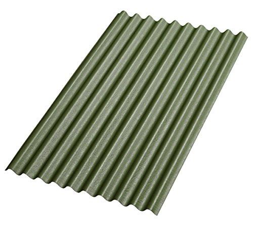 Bitumenwellplatten Set grün Compact: 8 Stück je 1000 x 750 mm und 200 Dachnägel verzinkt mit Dichtscheiben 2,8 x 70 mm