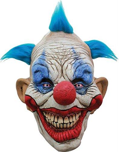 aske Gesicht Maske Over-the-Head-Maske Kostüm Stütze Scary Creepy Schreckliche Maske Latex Maske Clown Maske mit Blau Haar für Maskerade Make-up Party (Creepy Clown Make Up)