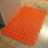 XQY Extra Große Dicke Badezimmermatte, Hochwertige Mode Duschraum, Bad Badematte, PVC-Massage-Matte,Orange,90 * 60 cm