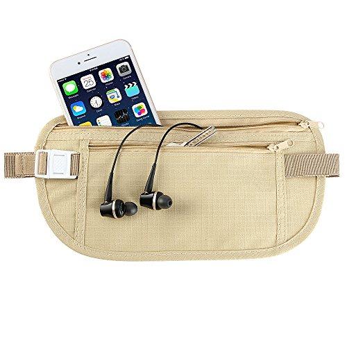 Cinturón de viaje para dinero para Hombres y Mujeres Bolsa De Viaje Oculta con bloqueo de RFID Ideal para de viaje