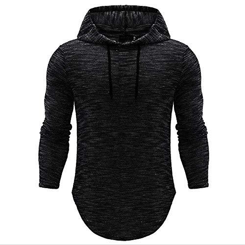 Herren Kapuzen Langarmshirt Modern Tee Sport Tops Einfarbig Sweatshirt Hip Kleidung Hop Hipster Hoodie T Shirt (Color : Schwarz, Size : L)