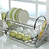 Tinxs 2 Tier Chrome Dish Rack Holder Drainer Strong Durable Hygienic Easy Assemble Secret Santa