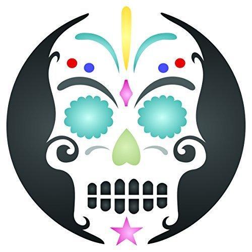Halloween Sugar Skull Stencil-wiederverwendbar Wand Schablonen für Malerei-Tag der Toten Decor Ideen-Verwendung auf Wände, Böden, Stoffe, Glas, Holz, und mehr... M