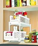 HomeFast 2 Tier Portable Sliding Basket Drawers Storage Cabinet Box