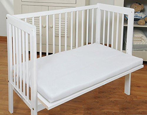 Baby Bedside Co Sleeper Cot Bed Side by Side with Free Mattress (White)