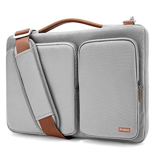 Shopizone Probus Ash Grey 360° Protection with Handle Accessory Laptop Shoulder Bag Compatible with 13.3-14 Laptop/MacBook