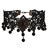 #4: Zephyrr Fashion 90s Gothic Style Black Velvet Pendant Choker Necklace For Women