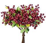 FiveSeasonStuff 10 Stängel von Echte Berührung Künstliche Rot Beeren Blumen & Strauß, für Haus Geschäft Büro Restaurant Hochzeit Dekoration / DIY Blumenschmuck, 25cm (9.8 inches)