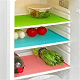 #8: Yellow Weaves™ Refrigerator Drawer Mats / Fridge Mats Pack of 6 Pcs 12X17 Inches(Multi Colors)