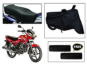 Vheelocity Combo of 72607 Black Motorcycle Body and Seat Cover with Free Acupressure Grip for Hero Achiever